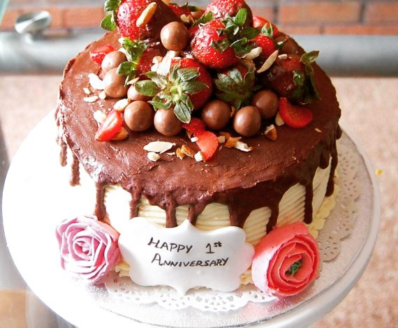 Chocolate & Strawberry Loaded Drip Cake