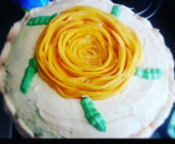 Fresh Mango Rose Cake