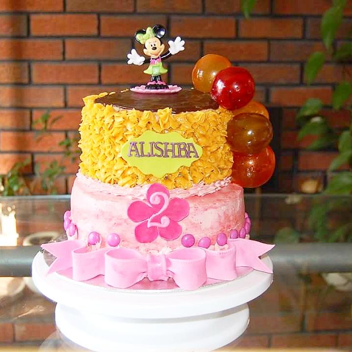 Sensational 2 Tier Minnie Birthday Cake Cakes By Mehwish Personalised Birthday Cards Paralily Jamesorg