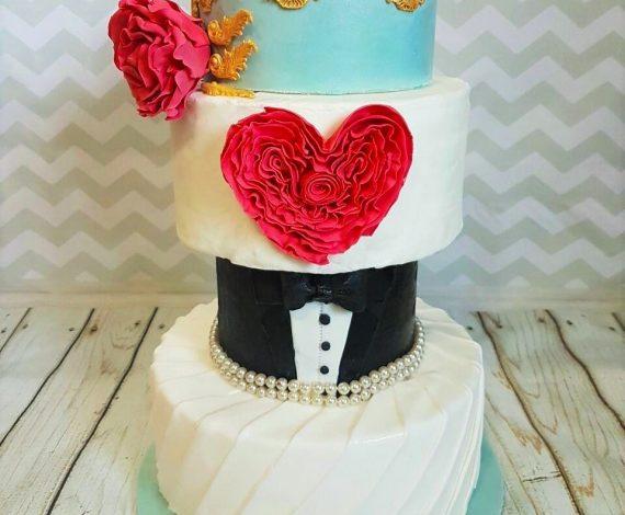 Ruffles & Tuxedo Wedding Cake