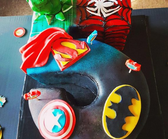 Superhero Theme Number Cake