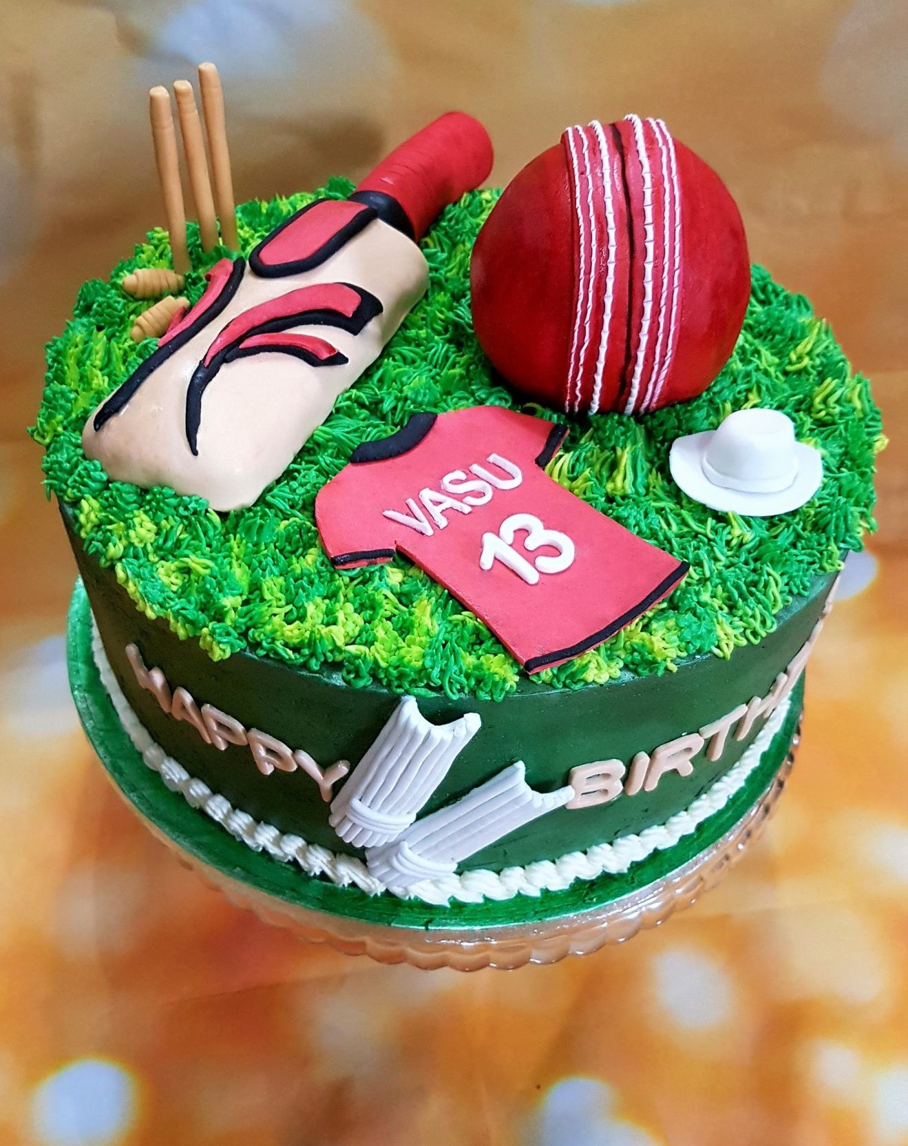 Cricket Themed Wedding Cake