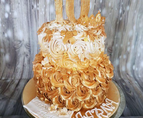 Ombre Gold Rosette Cake