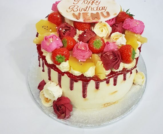 Roses & Fruit Fresh Cream Cake