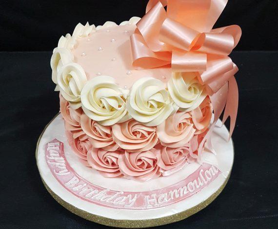 Peach Ombre Rosette Cake