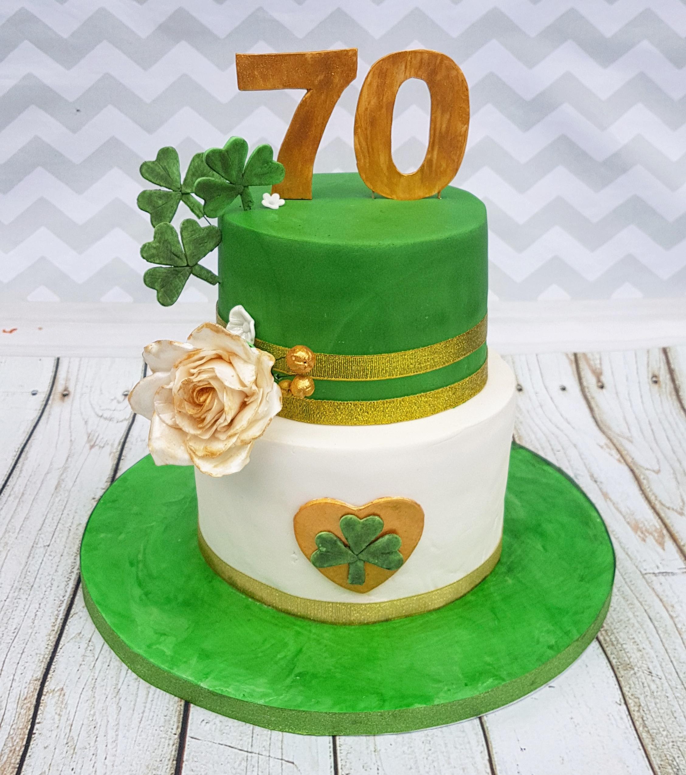 Superb 70Th Irish Themed Birthday Cake Cakes By Mehwish Personalised Birthday Cards Veneteletsinfo